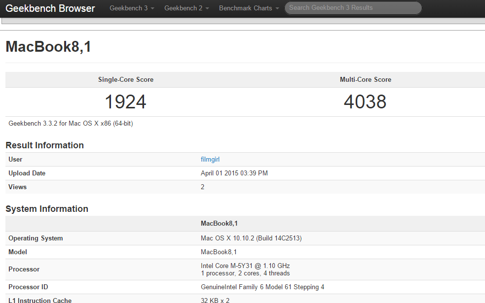 geekbench nuovo macbook