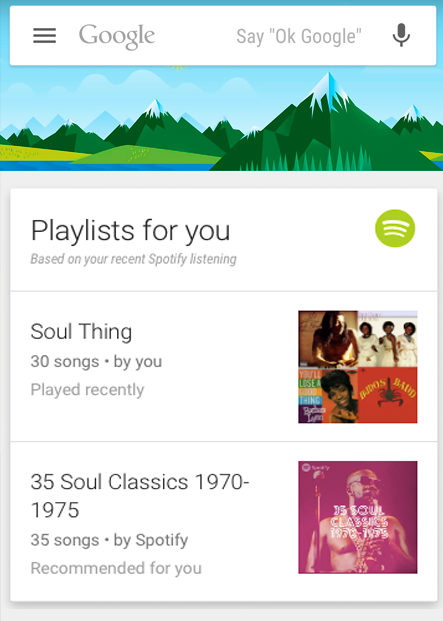 google now spotify