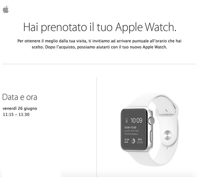 apple watch prenotazione