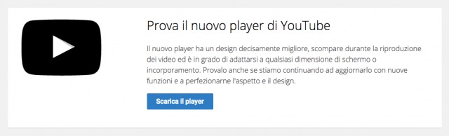 nuovo player youtube beta