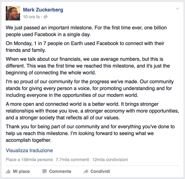 zuckerberg un miliardo