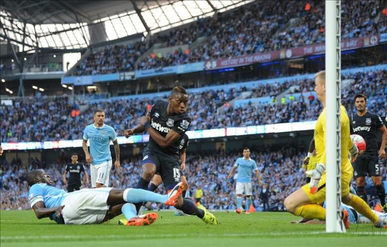 Il gol di Sakho che è valso il definitivo 1-2 per il West Ham in casa del City.