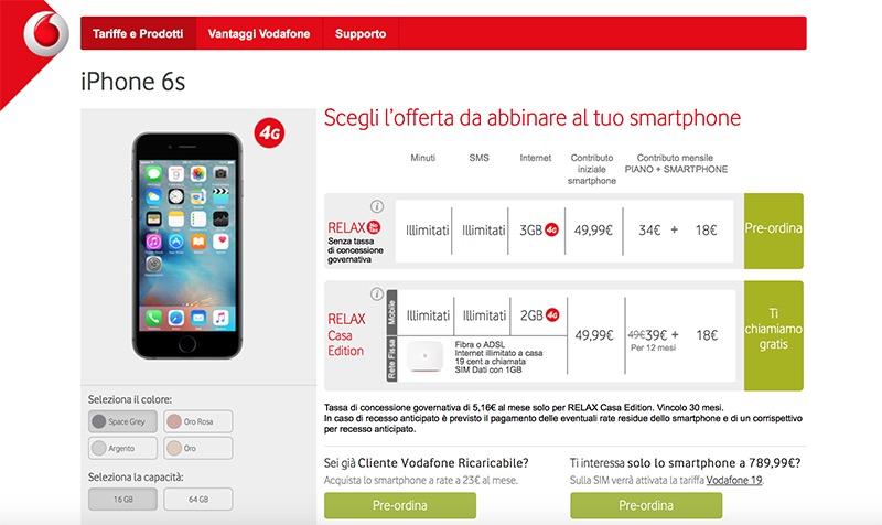 vodafone tariffa iphone 6s