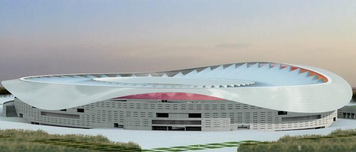"""Il Nuovo stadio della """"Peineta"""" da 68.000 posti."""