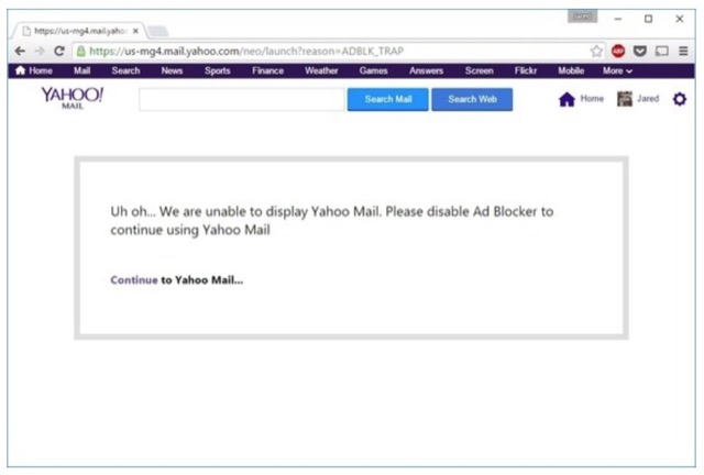 Yahoo mail ad block
