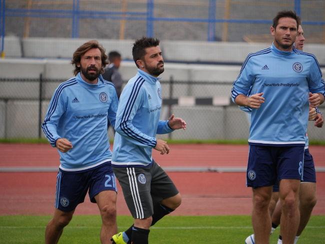 Pirlo in allenamento con Lampard e Villa. Sono loro i tre assi dei NY City.